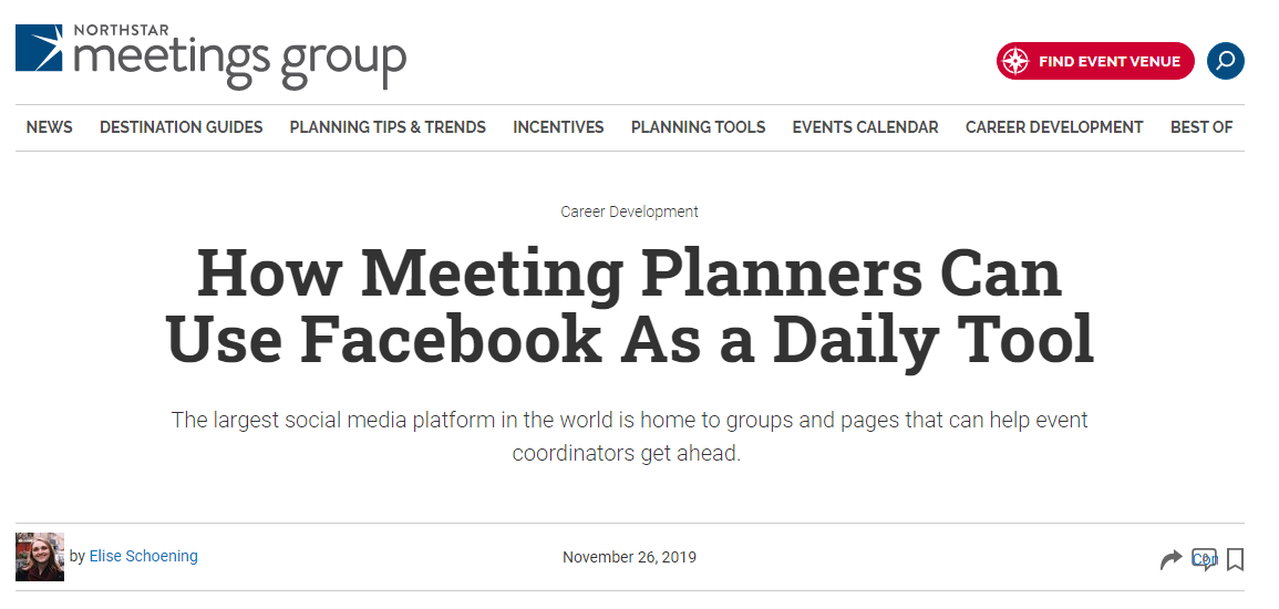 How Meeting Planners Can Use Facebook As a Daily Tool