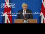 Prime Minister says country is on course to end all legal restrictions on 19 July